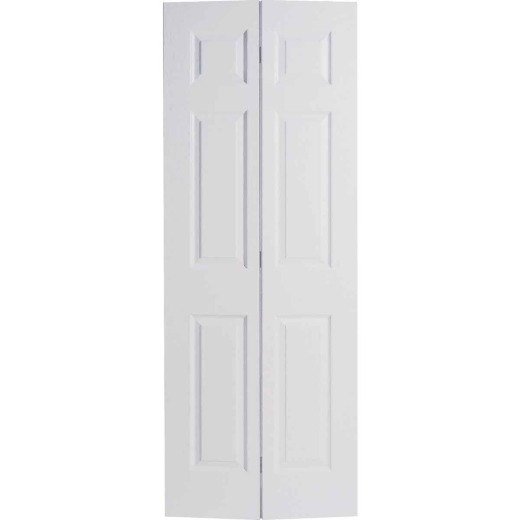 Masonite 60 In. W x 79 In. H Textured Hardboard Primed White 6-Panel 4-Door Bifold Doo