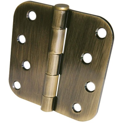 Ultra Hardware 4 In. x 5/8 In. Radius Antique Brass Door Hinge (3-Pack)