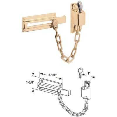 Defender Security Polished Brass Keyed Chain Door Lock