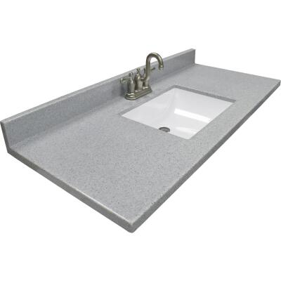Modular Vanity Tops 49 In. W x 22 In. D Pewter Cultured Marble Vanity Top with Rectangular Wave Bowl