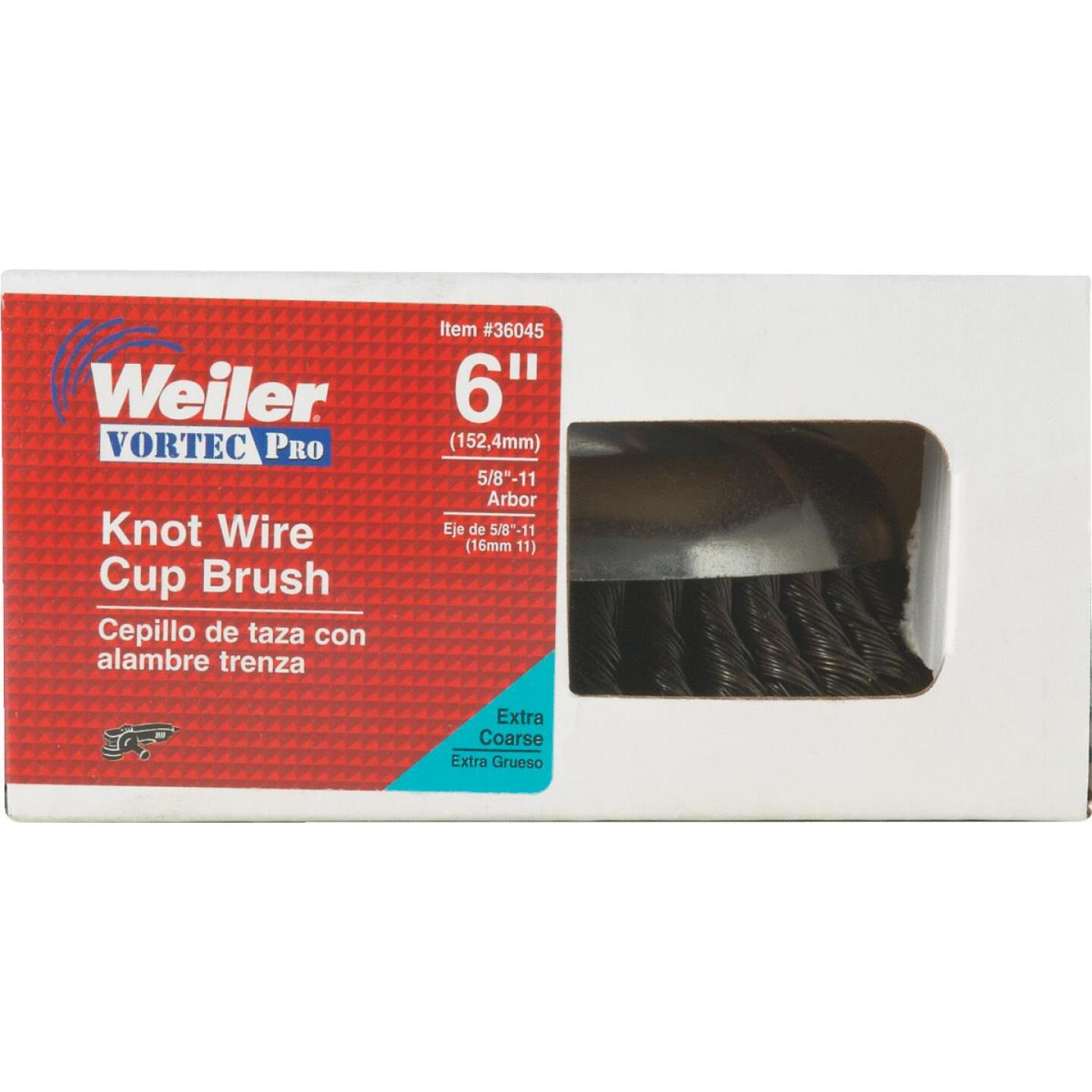 Weiler Vortec 6 In. Knotted 0.02 In. Angle Grinder Wire Brush Image 2