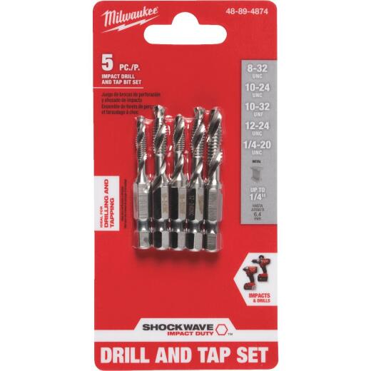 Milwaukee Shockwave SAE Impact Drill Tap Bit Set (5-Piece)