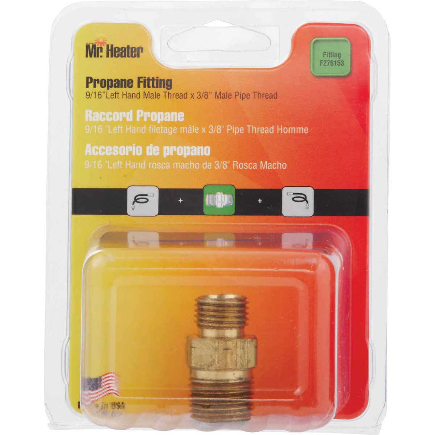 MR. HEATER 3/8 In. MPT x 9/16 In. LHMT Brass Male Pipe Fitting Image 2
