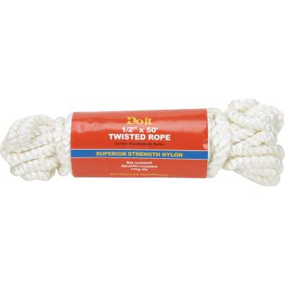 Do it 1/2 In. x 50 Ft. White Twisted Nylon Packaged Rope