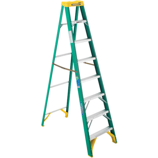 Werner 8 Ft. Fiberglass Step Ladder with 225 Lb. Load Capacity Type II Ladder Rating