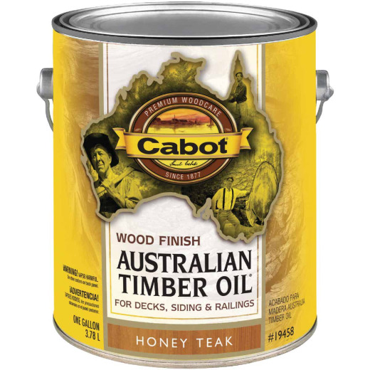 Cabot Australian Timber Oil Water Reducible Translucent Exterior Oil Finish, Honey Teak, 1 Gal.