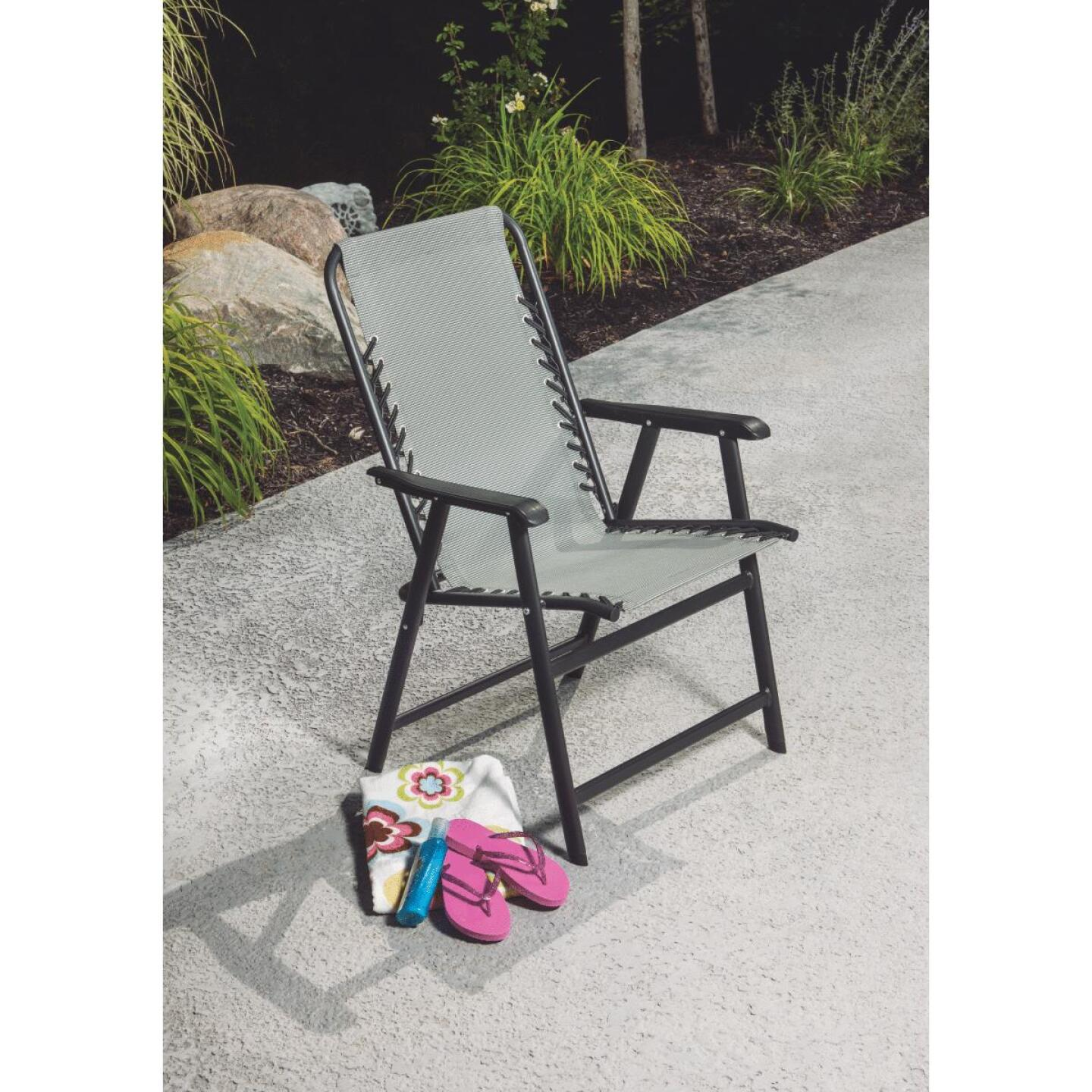 Outdoor Expressions Seville Gray Sling Folding Chair Image 3