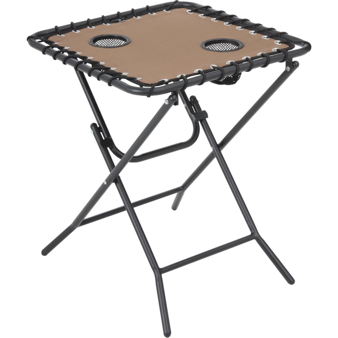Outdoor Expressions Tan 18 In. Square Steel Folding Side Table Image 1