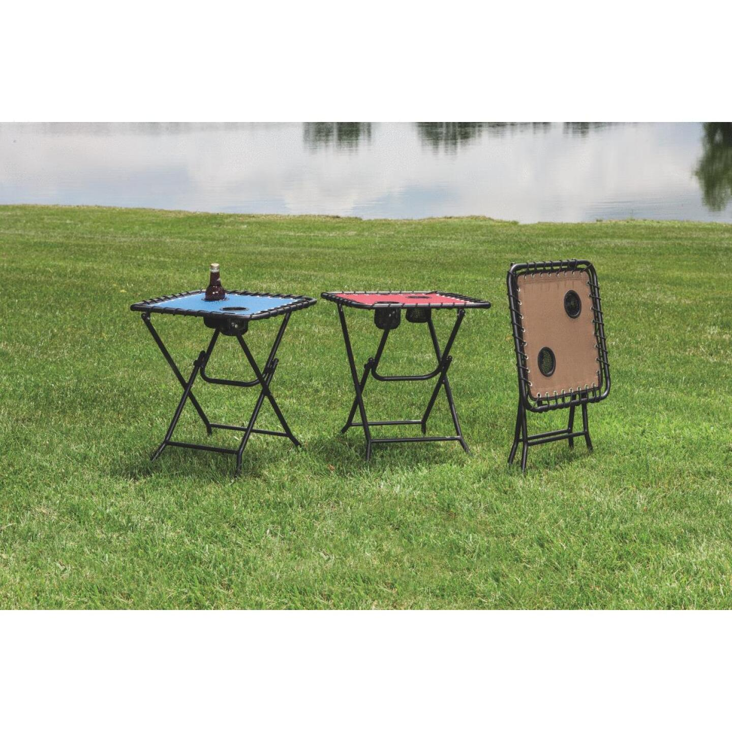 Outdoor Expressions Tan 18 In. Square Steel Folding Side Table Image 3